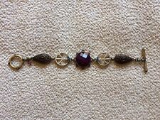 New Lucky Brand Purple Amber Stone Peace Sign Bracelet Toggle Closure Reversible