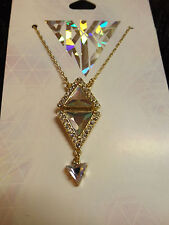 new gold tone Katy Perry Iridescent double pyramid necklace Prism Pop Culture