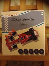 Hecho a mano personalizado F1 coche de carreras tarjeta de cumpleaños