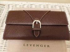 NEW! Levenger Marseilles Brown Pebbled Leather Card / Key Case & Trifold Wallet