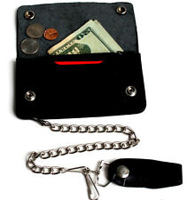 Black Leather Motorcycle Trucker Biker Chain Long Wallet Snap belt loop Chain NR