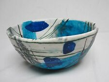"""SIGNED GUIDO GAMBONE MID CENTURY LARGE 10 3/4"""" BLUE ABSTRACT BOWL"""