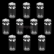lot of 10 Silver Caps Mini Glass Bottles Vials Charm Wish Necklace Pendants