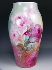 BEAUTIFUL LIMOGES FRANCE HAND PAINTED ROSES VASE