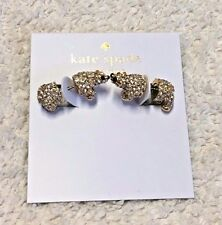 KATE SPADE Cold Comforts Polar Bear Goldtone Crystals Stud Earrings O0RU1599 NEW