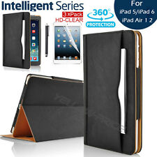 Leather Rotating Smart Case Wallet Cover for iPad Air 1 & 2 + Protector & Stylus