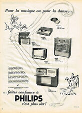 PUBLICITE ADVERTISING 094  1953  PHILIPS  radiophone tourne-disque