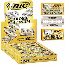 BIC CHROME PLATINUM DOUBLE EDGE RAZOR BLADES FREE SHIPPING 100 PCS