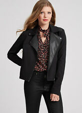NWT GUESS $158 Lizaveta Wool & Faux Leather Jacket Coat Black M 6 7