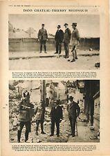 Georges Clemenceau René Renoult & Général Mordacq & Château-Thierry War 1918 WW