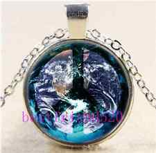World Peace Cabochon Glass Tibet Silver Chain Pendant Necklace