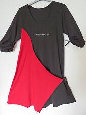 >>BORIS INDUSTRIES>>Kleid Wickeloptik asymmetrisch Lagenlook schwarz-rot 48 (5)