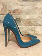 NIB Christian Louboutin So Kate 120 Blue Celeste Patent Leather Heel Pump 40