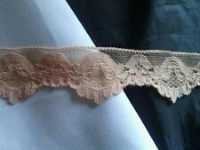 2  yards peach stretch double scalloped pretty  lace floral trim 1 1/2''w s 7-2