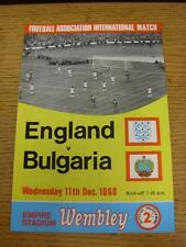 11/12/1968 England v Bulgaria [At Wembley] . Item in very good condition, unless