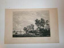 Gravure 19° 1899 Peinture Salomon Ruysdael Paysage galerie de San Donato