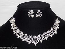 Bridal Silver Necklace & Earrings Set With Clear Crystal, Rhinestone and Pearl