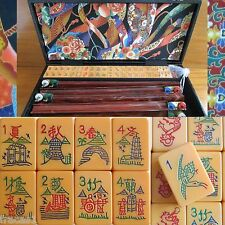Vtg Coronet Mahjong Set, 152 Catalin Tiles, 4 Swing-back Racks Case Mah jongg