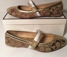 "Coach ""Janey"" Khaki/ Gold Signature Jacquard Flats Shoes Sz. 8.5"