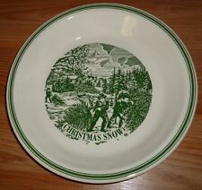"""Currier & Ives CHRISTMAS SNOW green pie plate dish bowl 10"""""""