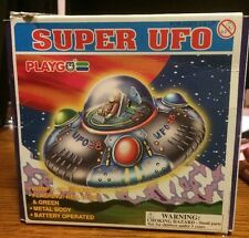*Vintage Toy*. Playgo Super UFO  Metal Body Red, Blue, Green Lights