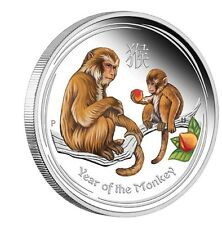 2016 Australia Lunar Year of the Monkey COLORIZED 1 oz SIlver Proof $1 Coin