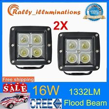 2X 16W LED Flood Lights CREE Fog OffRoad Truck Motorcycle 4x4 ATV Driving 18/24W