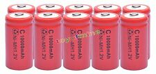 10 x C size 1.2V 10000mAh Ni-MH Red Color Rechargeable Battery USA