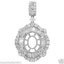 10x8 MM Oval Semi Mount Baguette Diamond Pendant Mounting 1.18 CT 18K White Gold