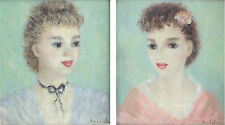 Huldah, Cherry Jeffe (1901 – 2001) Pair portrait oil paintings, young women