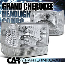 Jeep 93-96 Grand Cherokee Chrome Headlights+Clear Bumper Lamps+Corner Lights