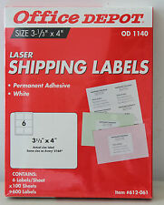 OFFiCE DEPOT Laser Shipping Labels OD 1140 600 Labels, 100 Sheets NEW! L#499