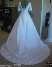 White Shantung Short Sleeve A-line V Neck Bridal Gown Wedding Dress Size 12 14
