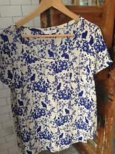 Paul and Joe Sister Blue and White Cat Print 100% Silk Short Sleeve Top, FR2/USM