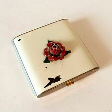 Vintage Compact Cosmetics Brass & White Enamel with Painted Rose Medallion