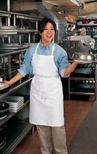 1 White Kitchen Chef Server Waitress Waiter Bib Apron No Pockets FREE SHIP