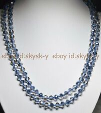 45 inches crystal necklace 5x8mm Gray Multi-colored Blue AB Rondelle Beads