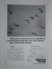 1974-5 PUB UTA AIRLINE OISEAU MIGRATEUR MIGRATION CANARD DUCK ORIGINAL FRENCH AD
