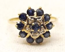 Vtg 14K Gold Blue Sapphire Diamond Ring Sz 7.5 Gorgeous Estate Princess Harem