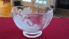 Clear Glass Footed Bowl with Embossed Frosted Swan Design Bowl Teleflora