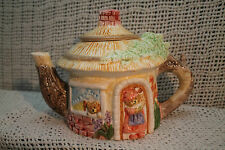 "ceramic  FIGURAL COTTAGE HOUSE  TEAPOT MAMMA BEAR BABY BEAR 6"" TALL"