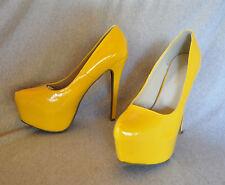 """Daily Shoes """"Ellen"""" hi-heel yellow patent pump - Size 11 - 6.25"""" heel - New"""