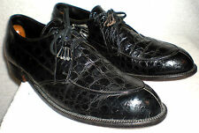 Edwin Clapp size 13 A / C genuine alligator men's black dress shoes