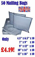 50 Mixed Mailing Bags Strong Grey Plastic Poly Postal Envelopes Self Seal A10