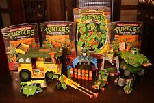 TMNT Turtles Vintage Playmates Collection Lot 39 Figures 8 Vehicles Cases Extras