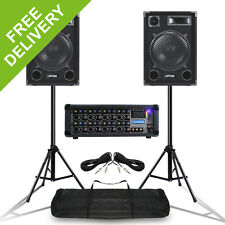 Mobile DJ Speakers PA Amplifier Mixer Stands Band Disco Kit Set 1400W 12""