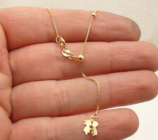 "Solid Adjustable Venetian Box Chain Necklace Real 14K Yellow Gold 16"" ~ 18"""