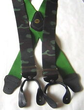 MENS BUTTON BRACES CAMOUFLAGE GREEN WOOD FISHING MOTORBIKE CAMO BRACE YOURSELF