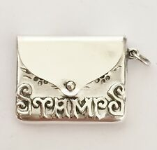 Vintage 925 Solid Silver - Stamp Holder Case Envelope Fob - Floral Design