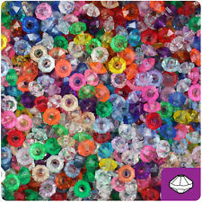 1200 Mixed Transparent 6mm Faceted Rondelle Octa Spacer Plastic Craft Beads